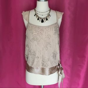 🆕NWT Express Champagne Silk Beaded Top🆕